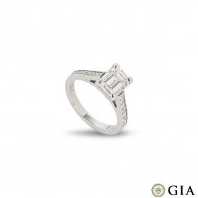 Platinum Emerald Cut Diamond Ring 1.51ct F/VVS2